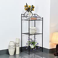 Yaheetech 3 Shelves Black Iron Kitchen Bakers Rack for Microwave Oven Indoor Metal Plant Stands