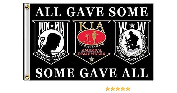 3x5 Pow Mia POWMIA KIA Wounded Warriors All Gave Some Some Gave All Flag