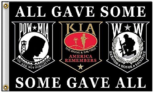 3×5 Pow Mia POWMIA KIA Wounded Warriors All Gave Some Some Gave Al Super Polyester Nylon Flag 3'x5′ 90cm x 150cm Grommets Double Stitched Premium Quality Indoor Outdoor Pole Pennant F1851 1-02-D