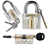 Practice Training Cutaway Padlock Set, Includes 3 Different Common Clear Crystal Transparent Padlocks with 7 Regular Keys + 5 Training Tools Practice Keys (Credit Card) Kit for Kids