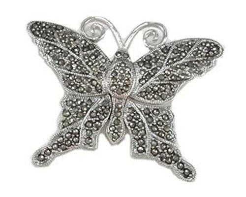 Sterling Silver Marcasite Butterfly Or Moth Brooch Pin