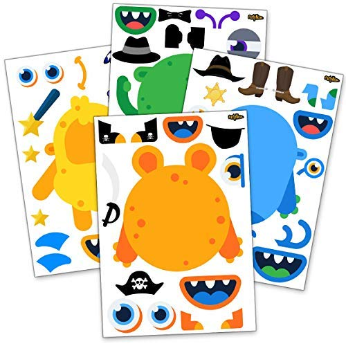 24 Make A Monster Stickers For Kids - Monster Themed Birthday Party Favors & Supplies - Fun DIY Craft Project For Children 3+ - Let Your Kids Get Creative & Design Favorite Monster Stickers by PartyNow