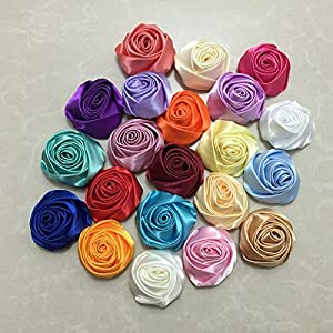 XGM GOU 10Pcs/Lot Handmade Dia 5.5Cm Fabric Satin Rose Flowers Artificial Flower DIY for Bridal Bridesmaid Wedding Bouquet Accessoires 3