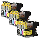 Toner Clinic TC-LC103 12PK 3 Black 3 Cyan 3 Magenta 3 Yellow Compatible Inkjet Cartridge for LC-101 LC-103 LC-103 XL LC-103BK, LC-103C, LC-103M, LC-103Y - 12 Pack Compatible Ink Cartridges