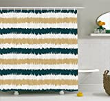 beige and blue shower curtain - Striped Shower Curtain Set by Ambesonne, Navy Blue and Beige Paintbrush Strokes Design Lines Hand Drawn Style Artsy, Fabric Bathroom Decor with Hooks, 70 Inches, Dark Blue White Beige