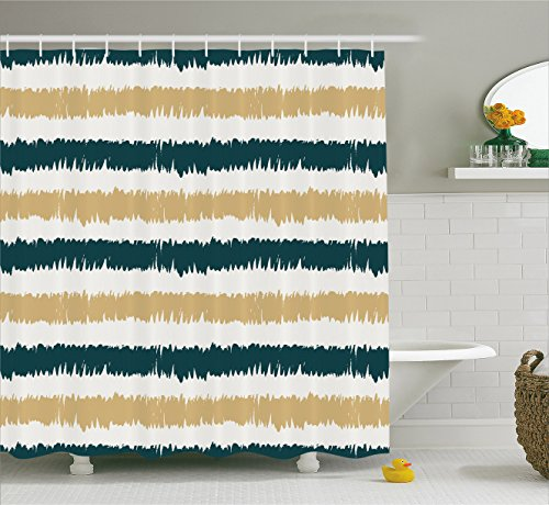 beige and blue shower curtain - 3