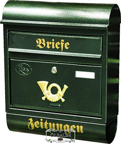 Wandbriefkasten,Briefkasten, Premium-Qualität aus Stahl, verzinkt, pulverbeschichtet Runddach R grün dunkelgrün moosgrün Zeitungsfach Zeitungsrolle Postkasten NEU