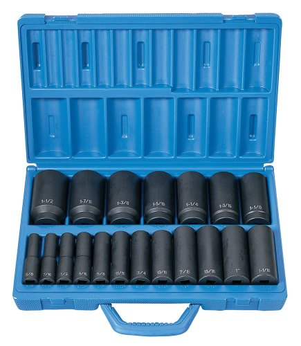Grey Pneumatic Corp 1319D 1/2'' Drive Deep Length Fractional Master Set - 19 Piece