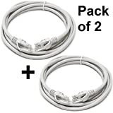 Pack of 2 Premium Cat6 24 AWG UTP Patch Cord Networking Lan Cable - White