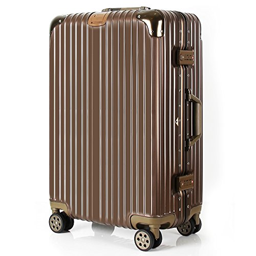 Lightweight Travel Luggage Check in Business Rolling Wheels Aluminum Spinner Hardside Suitcase Carry on TSA Approved 20 inch