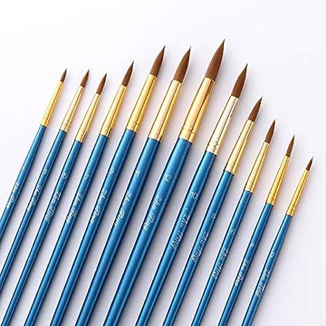 Pennelli per Acquerelli,10 Pack Set di Pennelli per Pittura a Olio Art Painting per Acrilico Dipingere Pennelli Pittura Disegno DIY Adulti Ragazzi Bambini Blu Nylon