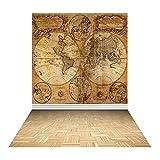 Muzi 5x8ft The Old World Map Wall Wood Floor Photography Backdrop Newborn Photo Studio Props Vinyl Background XT-3659