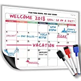 Dry Erase Monthly Magnetic Calendar for Refrigerator/Magnetic Board Planner/16 x12/3 Colored Magnetic Fine Tip Markers Including Eraser/New Technology - No Stains at All!