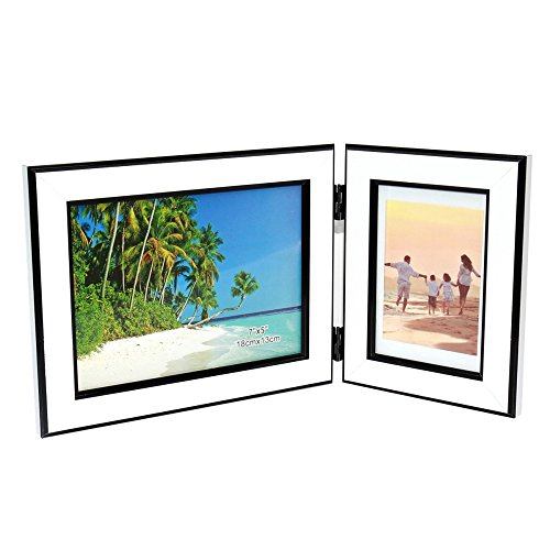 - CECIINION Photo Frame,Hinged Double Picture Frames,with Glass Front, Fit for Stands Vertically on Desk Table Top (for 7x5in & 3.5x5in Photos,White & Black Mix Color) …