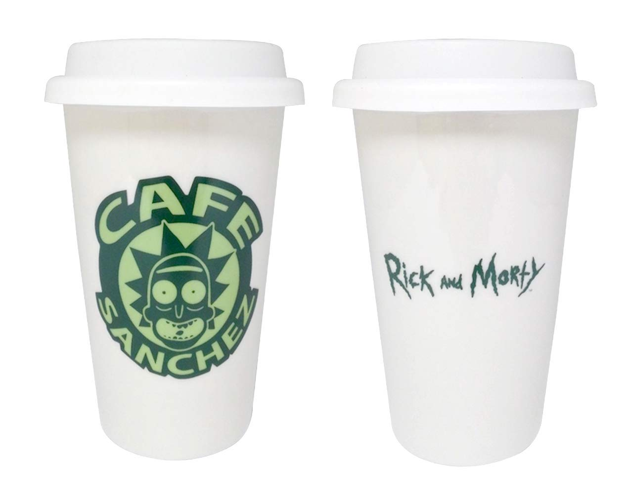 e46d3915f65 Amazon.com: JUST FUNKY Rick and Morty Travel Mug, White Ceramic Cafe  Sanchez with Double Wall Travel Mug, Set of 1, 12oz: Sports & Outdoors