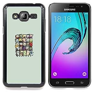 "Qstar Arte & diseño plástico duro Fundas Cover Cubre Hard Case Cover para Samsung Galaxy J3(2016) J320F J320P J320M J320Y (Lindos Wizards"")"