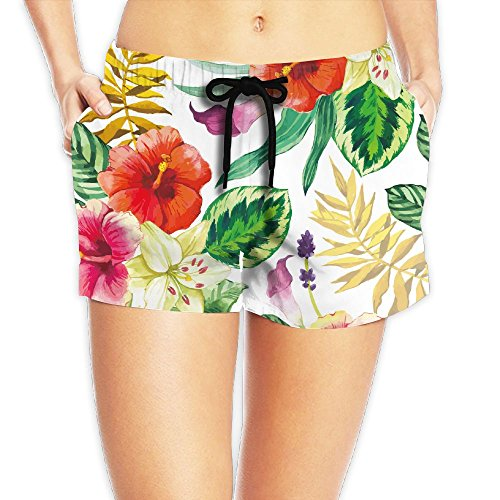 Medium Calla Lily Spray (Calla Lily Chinese Hibiscus and Leaves Women Color Fashion Surf Swim Trunk Pants Pocket)