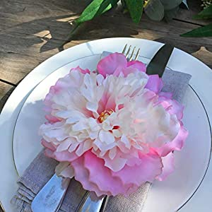 Large Baby Pink Vintage Peony Rose Craft Flowers for Boho and Rustic Wreaths, Flower Crowns and Millinery Supplies, Cake Decorating, Party and Home Decor and Flower Craft. Handmade 8 heads x 5 inches 4