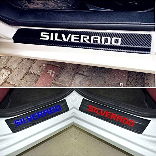 Car Entry Guard Sticker for Chevrolet Silverado Decoration Scuff Plate Carbon Fibre Vinyl Sticker Car Styling Accessories blue