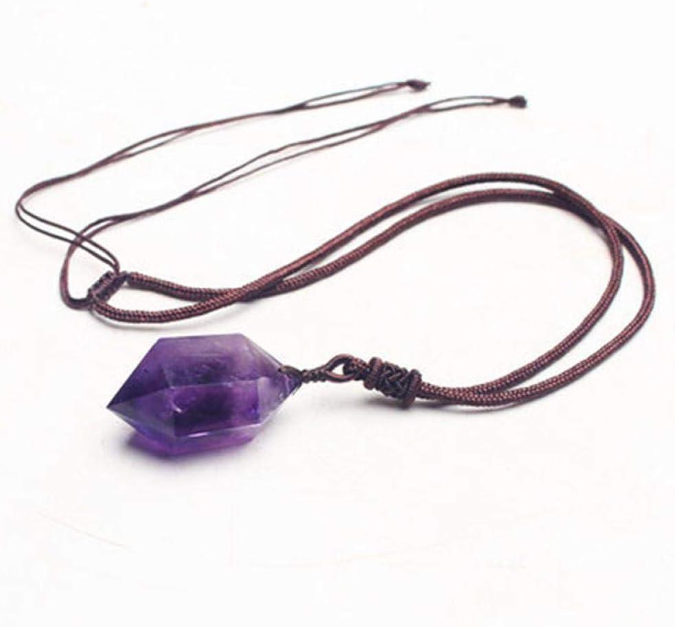 VFJLR Colgante Piedras Naturales Punto de Amatista Colgantes Collar de Cuerda Púrpura Cristal Cuarzo Regalo Original de Piedras Preciosas para joyería de Amor