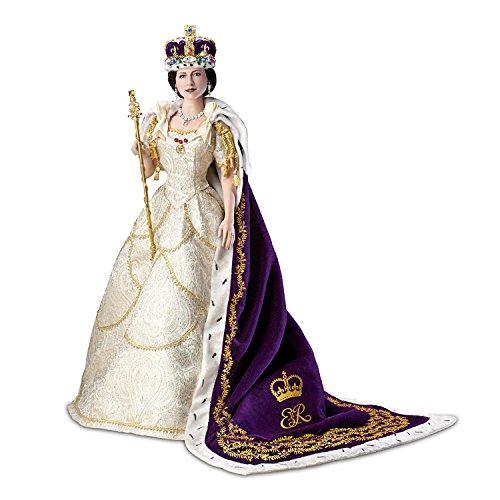 Queen Elizabeth II Poseable Porcelain Commemorative Coronation Portrait Doll by The Ashton-Drake (Ermine Robe)