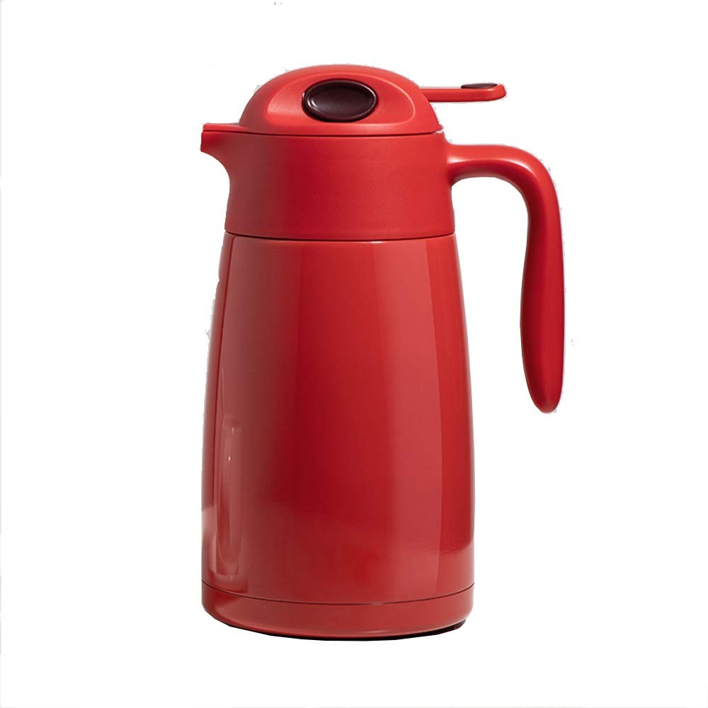 Jaxonn Home Stainless Steel Double Walled Vacuum Insulated Coffee Jug Thermal Carafe Portable Thermos,Juice/Milk/Tea Vacuum Pot Household (Color : Red) by Jaxonn Home