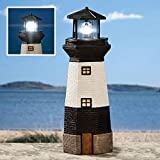 Home Garden Decor Best Deals - Bits and Pieces - Solar Lighthouse Outdoor Sculpture - Garden Décor and Lighting - Hand Painted Durable Resin - Illuminate your Patio, Yard or Poolside With This Decorative Solar Light Statue