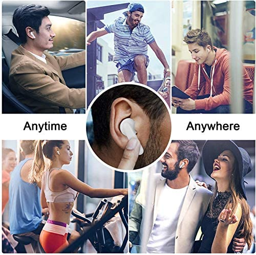 Wireless Headphones Bluetooth 5.0 Wireless Ear Buds Built in Mic in Ear Buds Noise Canceling three-D Stereo Earbuds Fast Charging for iPhone/Apple Earbuds Android Samsung (White)