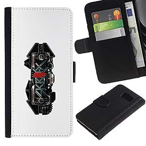 Billetera de Cuero Caso Titular de la tarjeta Carcasa Funda para Samsung Galaxy S6 SM-G920 / Skrillx Skrille Dubstep Electro Music / STRONG