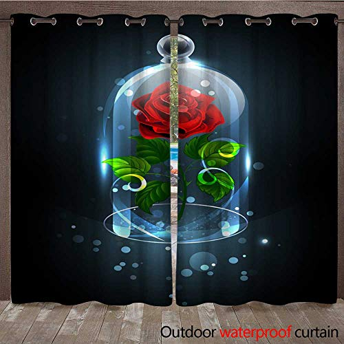Astoria Crystal Clear (RenteriaDecor Outdoor Curtains for Patio Sheer Red Rose Under The Crystal Dome W72 x L108)