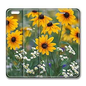 Black Eyed Susans And Daisy Fleabane Kentucky iPhone 6 Plus 5.5inch Leather Case, Personalized Protective Slim Fit Skin Cover For Iphone 6 Plus [Stand Feature] Flip Case Cover for New iPhone 6 Plus