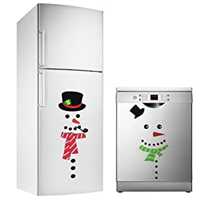 TOARTi Christmas Decal Snowman Decals Festive Kitchen Decal Refrigerator Decor Christmas Decorations Holiday Decor, 2 Pack