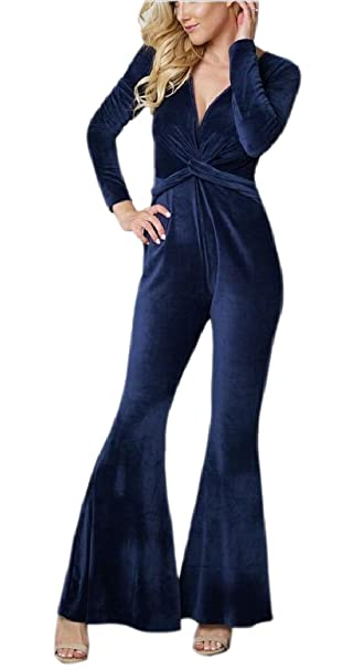 78b919b7468 Amazon.com  ZXFHZS Womens Deep V-Neck Flare Bell Bottom Party Jumpsuit  Romper Clubwear  Clothing