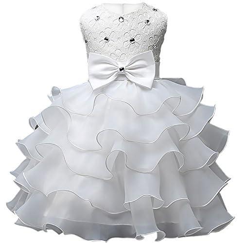Eudolah vestido de niña con volantes en Tulle con perla para la ceremonia  de la noche 39ab72bcdb4