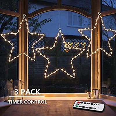 MAOYUE Window Lights 3 Pack Christmas Window Star Lights with Timer Battery Operated Christmas Decorations 8 Lighting Modes with 3 Remote Controls for Outdoor, Indoor, Porch, Party, Warm White