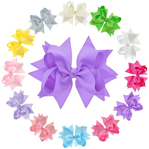 LCLHB Flower Hair Bows for Girls and Toddler, 5-Inch, Pack of 12 Assorted Colors