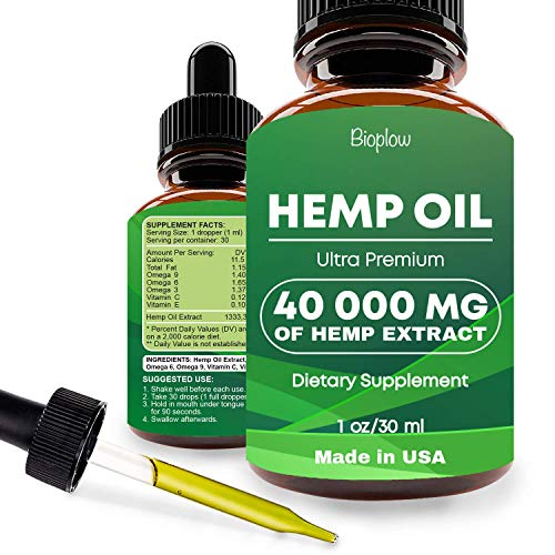 Hemp Oil Drops 40000mg, Co2 Extracted, No more Stress, Anxiety and Pain, 100% Natural Ingredients, Vegan Friendly, GMO Free