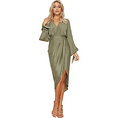 6f810446b01 ilovgirl Office Dress for Women Summer with Cut Out Long Sleeve Asymmetric  Hem Fashion Sexy Dresses Plus Size for Ladies Royal Blue Army Green Color   ...