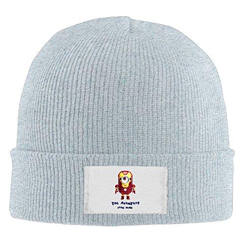 Amone Minion Iron Man Winter Knitting Wool Warm Hat Ash -