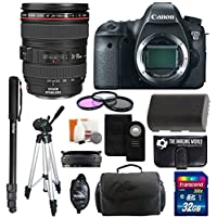 Canon EOS 6D 20.2 MP CMOS Digital SLR Camera body with 3.0-Inch LCD and Canon Zoom Wide Angle-Telephoto EF 24-105mm IS f/4 L USM Lens Kit + UV Filter Kit With Extra Battery +Tripod + Monopod with 32GB Complete Deluxe Accessory Bundle And Much More! At A Glance Review Image