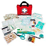First Aid Kit -309 Pieces- Reflective Bag Design - Including Eyewash, Bandages,Moleskin Pad,CPR Face Mask and Emergency Blanket for Travel, Home, Office, Car, Camping, Workplace