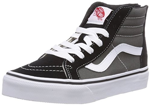 Vans SK8-Hi Zip Skate Shoe - Boys' Black/Charcoal, 4 M US Big Kid