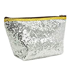 Sequins Refreshing Bling Makeup Silver Pouch