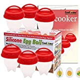 Egg Cooker-Silicone Egg Poachers for hard boiled eggs,Egg Cups AS SEEN ON TV,Hard&Soft Maker,Boil Eggs Without the Egg Shell (Pack of 6)