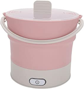 Folding Cooking Pot Multifunctional Cooker Kettle Mini Portable Electric for Cooking Rice Soup Porridge Cooking Steamed Food Rice Travel Student,Pink