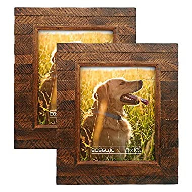 Eosglac Wooden Picture Frame, 8 x 10 (2pk) Rustic Finish Wood Plank Design, Handmade