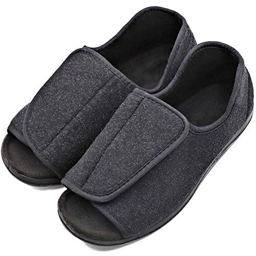 Mens Orthopedic Adjustable Slippers Wide Width Open-Toe Sandals House Roomy Shoes for Seniors Elderly Diabetic Edema