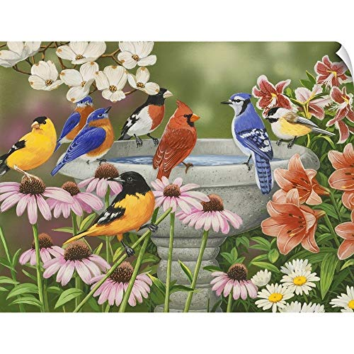 CANVAS ON DEMAND Garden Birdbath Wall Peel Art Print, 16