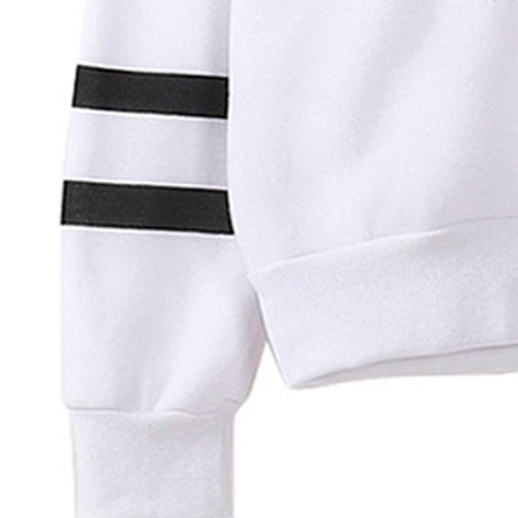 Women Sweatshirt Oversize Striped Long Sleeve Hooded Outerwear Cartoon Floral Animals Print Tops Jumper JKioleg Pullover