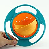 Ocaler Baby Kid Feeding Bowl Dishes Toy 360 Degree Rotate Non Spill Funny Creative UFO-Green